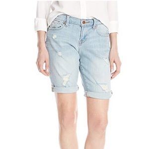 Destructed Distressed Bermuda Jean Shorts